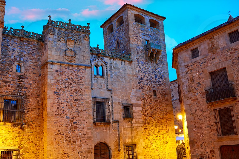 Caceres monumental city at sunset in Extremadura of spain photo
