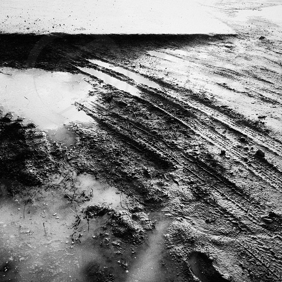mud dirty dirty mud road tire marks texture black and white marsh bog wet dirty road village road muddy photo