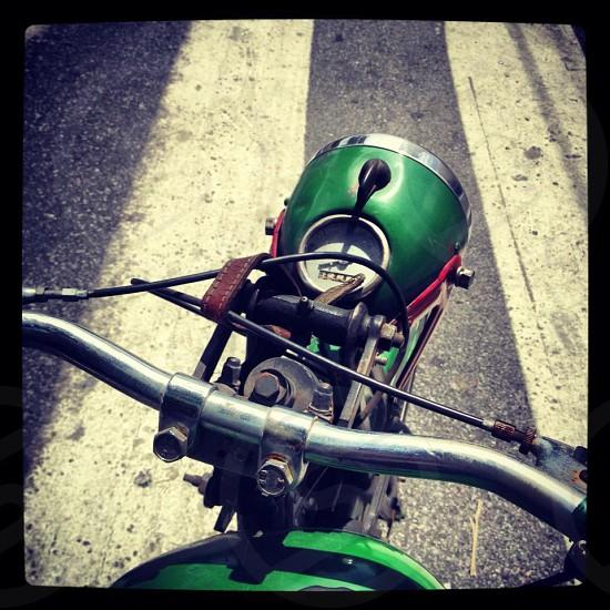 green motorcycle light  photo