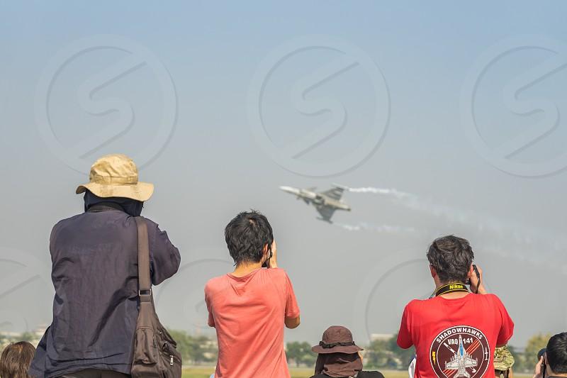 Photographers at an air show. photo