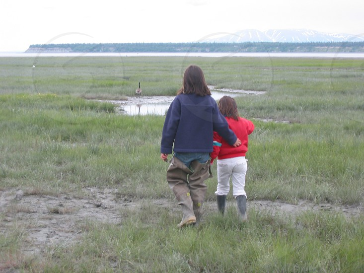 Sisters goose Anchorage Alaska fishing girls photo