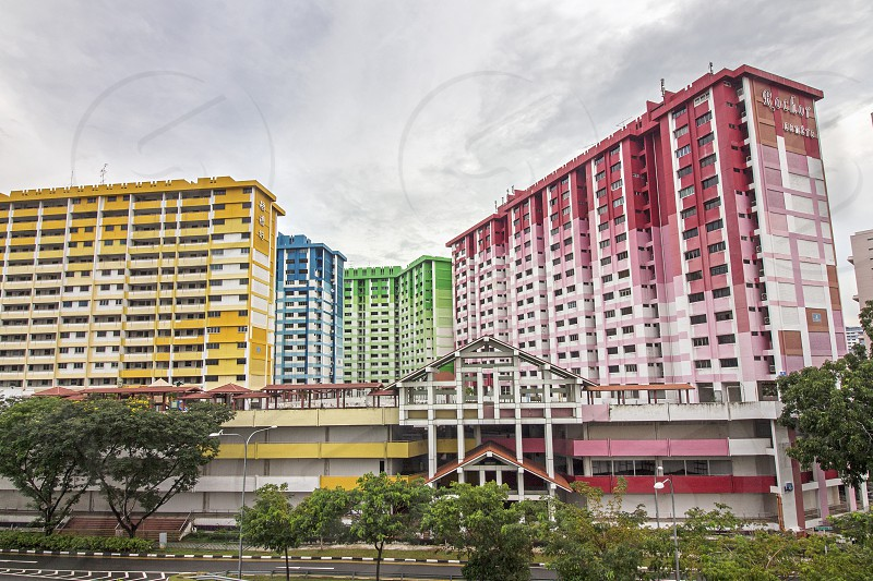 the famous rochor centre rainbow flat in Singapore was built by housing and development board in 70s photo