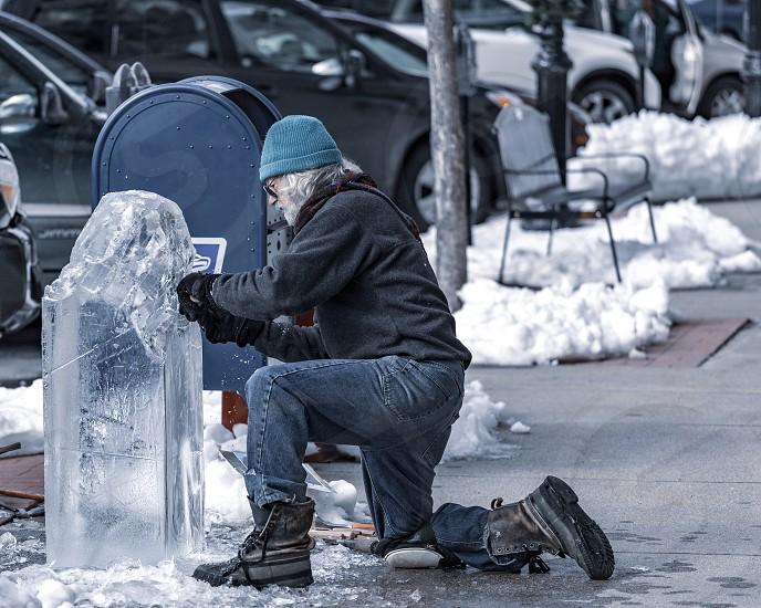 Ice sculpture at work photo