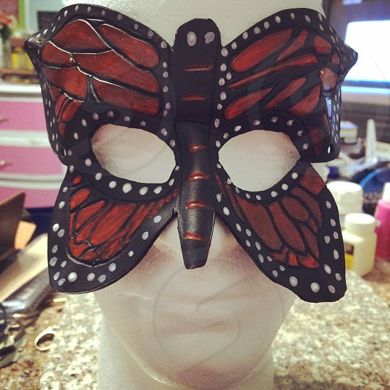 Leather Monarch Butterfly mask photo