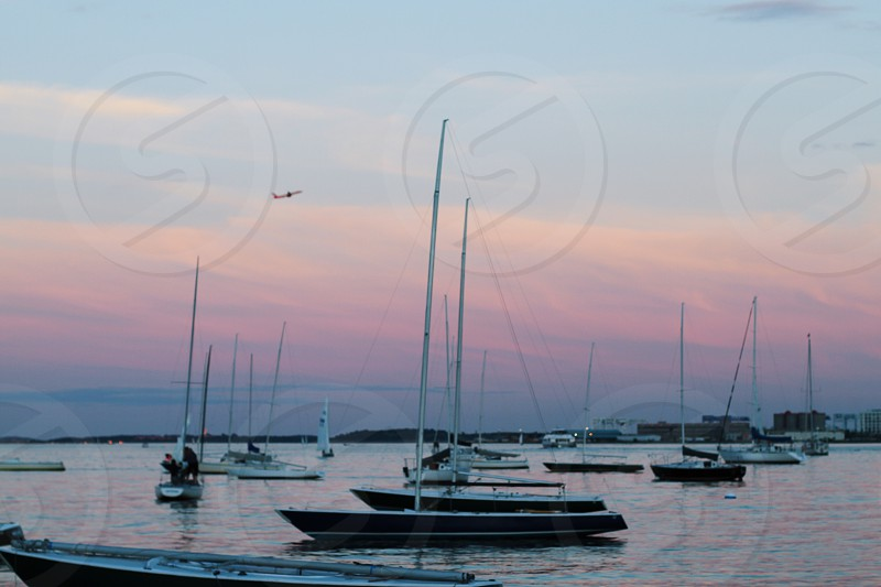 Colourful sunset over the water and boats in Boston photo
