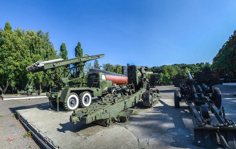 Odessa Ukraine - 09.18.2018. Memorial of the heroic defense of Odessa in a sunny summer day. Coastal artillery no. 411 photo