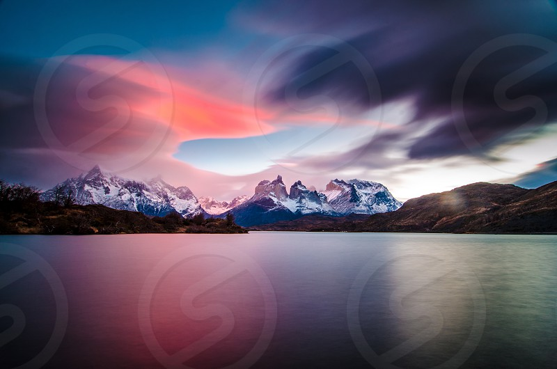 Torres del Paine National Park Chilean Patagonia beautiful image at dawn in an impressive landscape photo