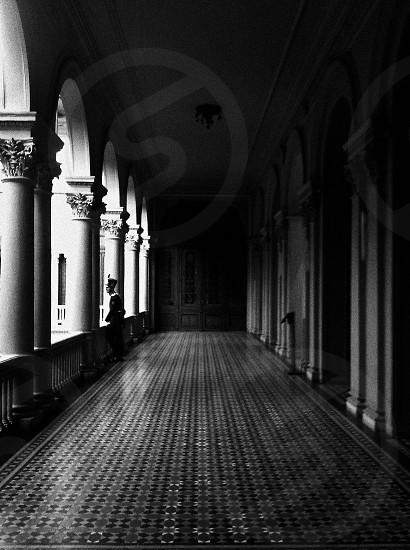 tiled concrete hallway photo