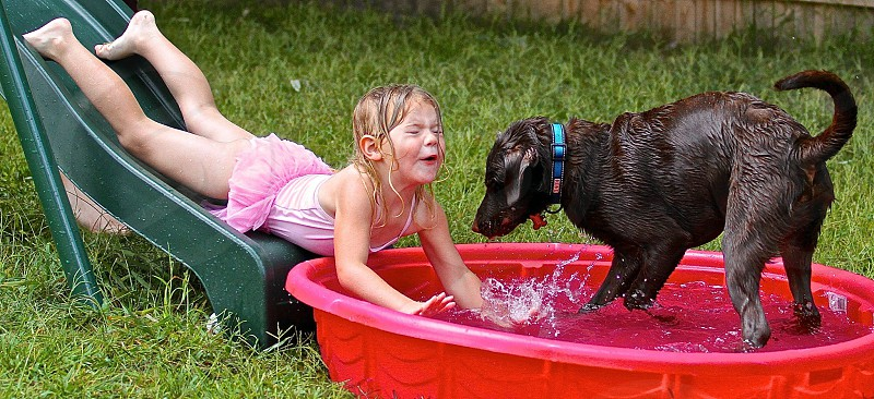girl laying on green slide near brown dog standing in red round kiddie pool photo