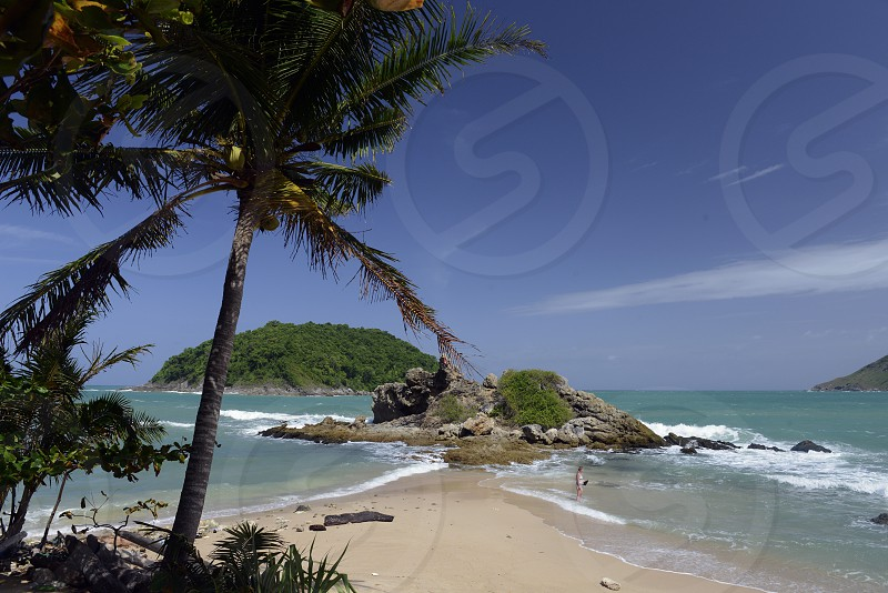 the Hat Nai Harn Beach near Rawai in the south on the Phuket Island in the south of Thailand in Southeastasia.