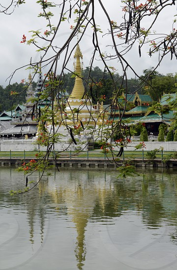 the Temple of Wat Jong Kham and Jong Klang on the lake Nong Jong Kham in the village of  Mae Hong Son in the north provinz of Mae Hong Son in the north of Thailand in Southeastasia. photo