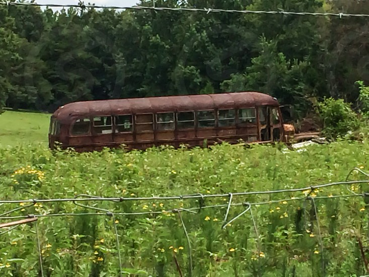 brown metal bus on grass field photo