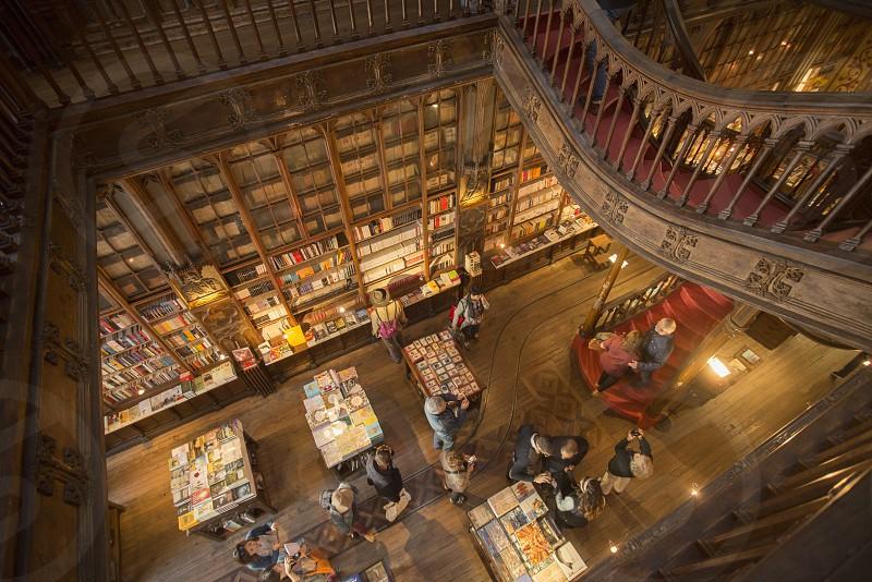 the Book shop Livraria Lello in Ribeira in Ribeira in the city centre of Porto in Porugal in Europe. photo