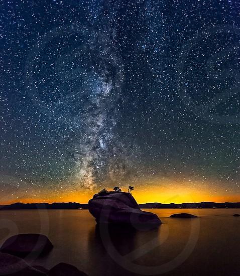 Milky Way over Lake Tahoe Ca photo