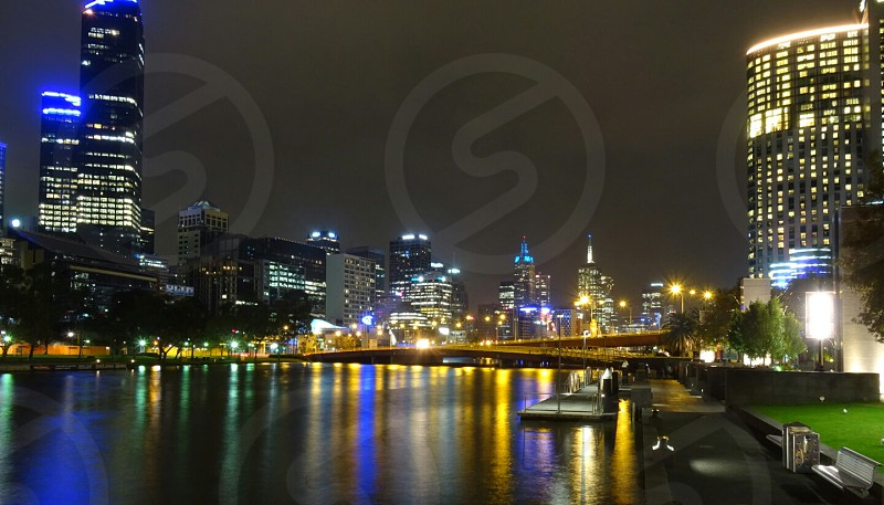 Melbourne And the Yarra Riverby night. photo