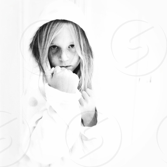 Portrait young girl child kid boxer fighter  photo