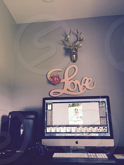 #workplace/office#girlcave#edits#photographer#lightroom#quiet#zenspace#gray#gold#pink#style#canon#deer#antler#lovephotog photo