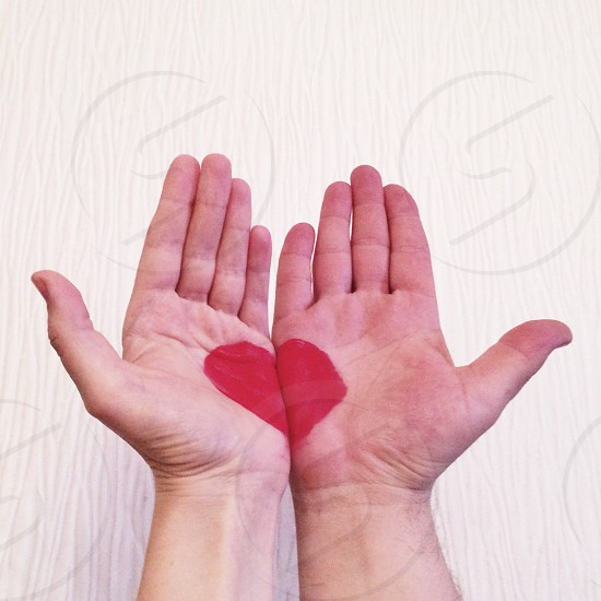 Love lovely lovers couple family male female passion emotion hands closer relationship marriage about love hearts heart red painted gift heart shaped halves couple in love  photo