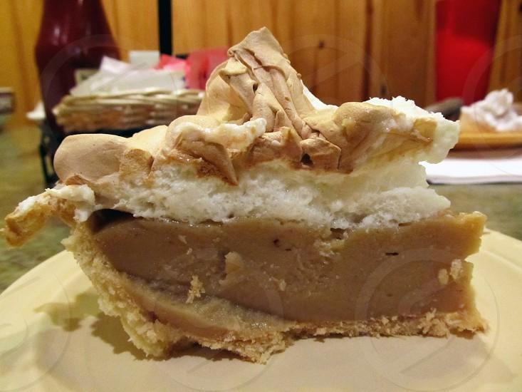 Peanut butter meringue pie slice photo