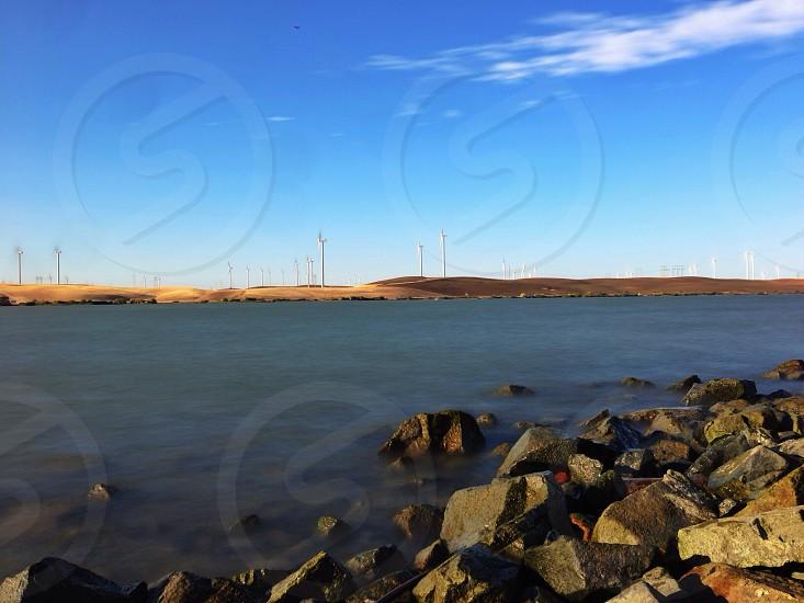 seashore and brown rocks view photo