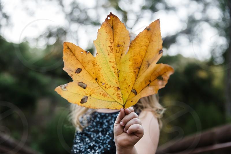 girl holding large leaf photo