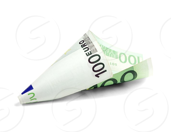 one undred euro bill on white background photo