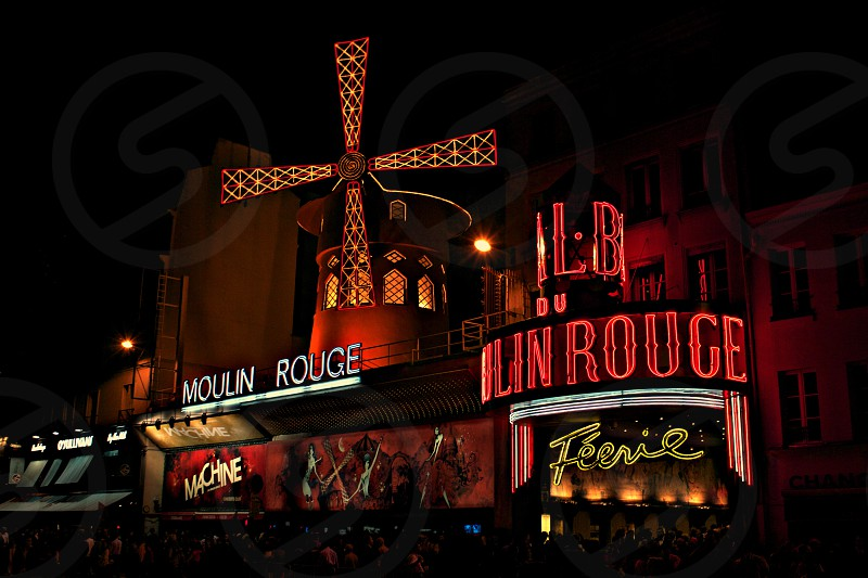 The neon lights of Moulin Rouge in France photo