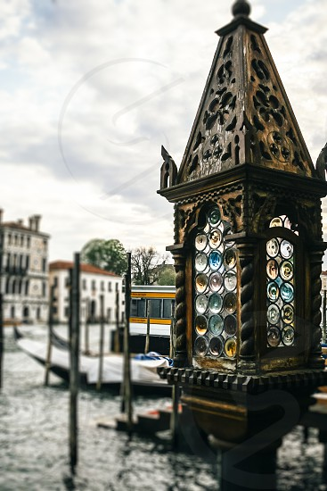 venice veneto italy canal grand canal lamp coloured coloured glass ornate selective focus blur water old photo