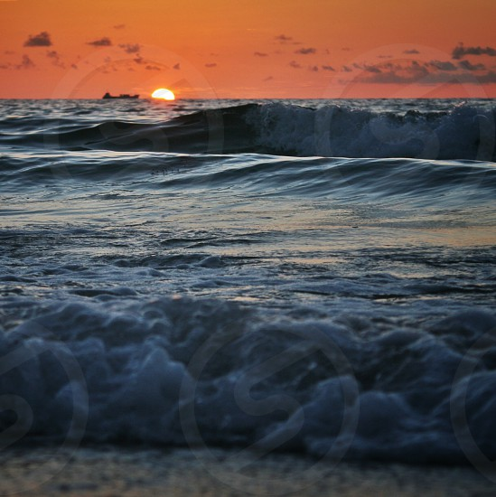 Sunrise from South Beach in Miami Florida photo