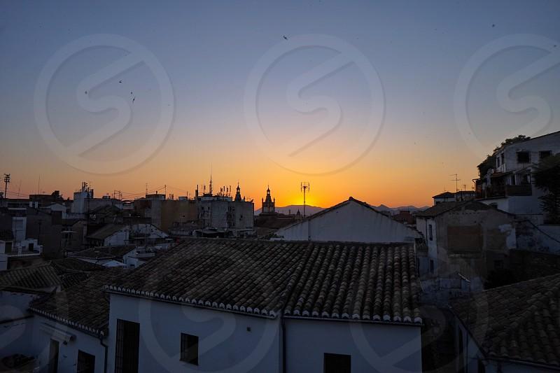 Granada spain europe travel city skyline night sunset rooftop photo