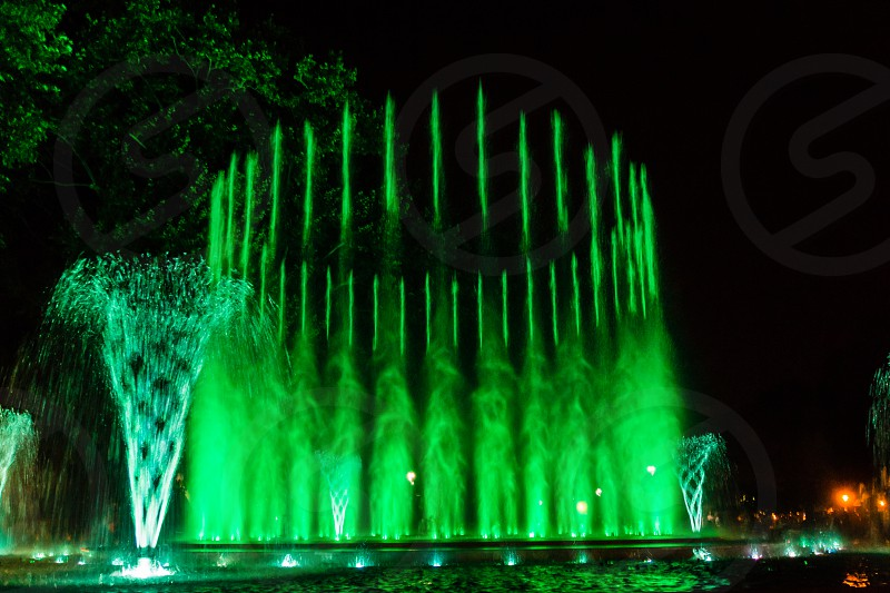 Colorful musical fountain in Margaret Island Budapest Hungary at night