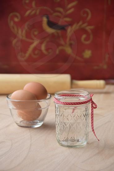 Rustic Country kitchen baking: Mason jar eggs & rolling pin photo