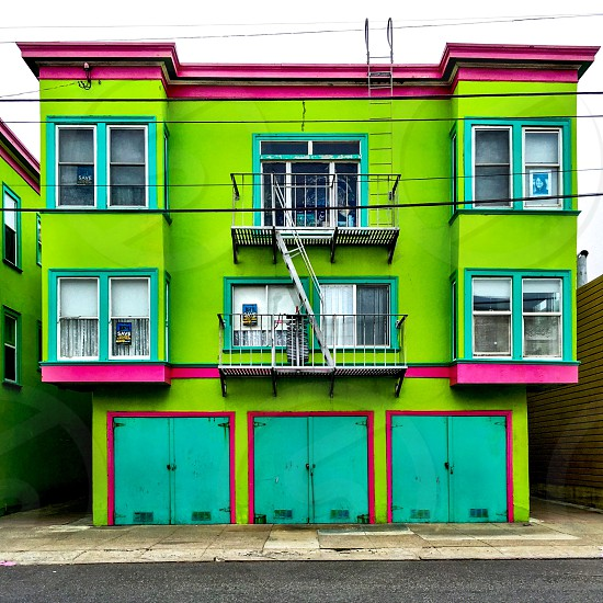 Neon painted house photo