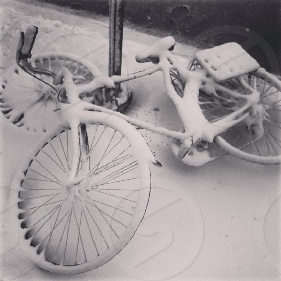Bike in the snow. New York.  photo