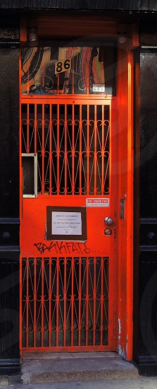 orange metal door photo