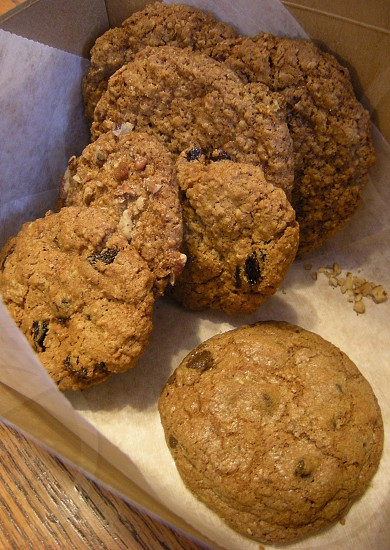 Oatmeal raisin cookies in box with chocolate chip cookie photo