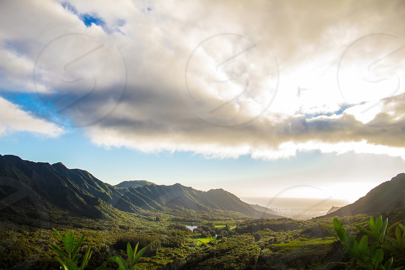 Hawaii Oahu mountains Pali highway clouds Honolulu Waikiki forest hiking sunset  photo