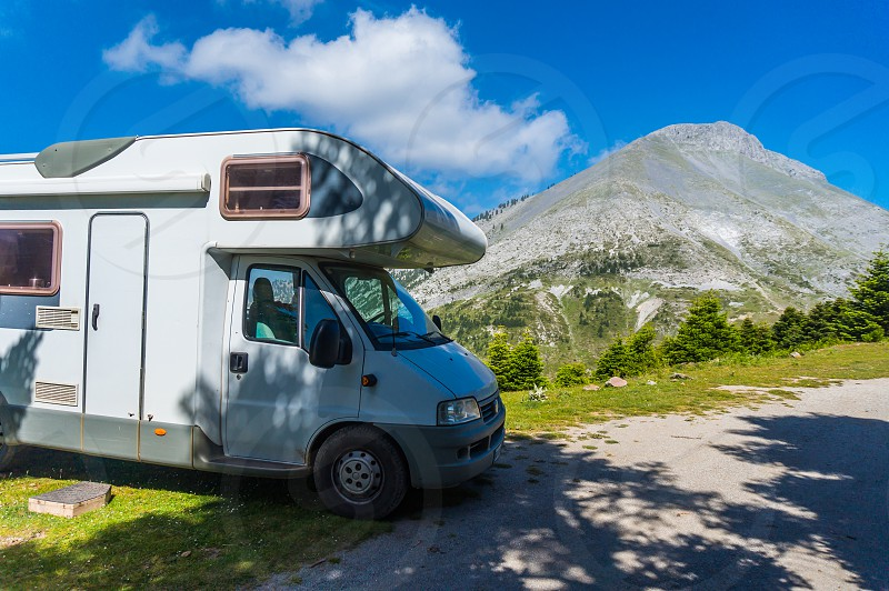 Road trip with a motor home near the area of mountain Dirfi in Evia Greece  photo