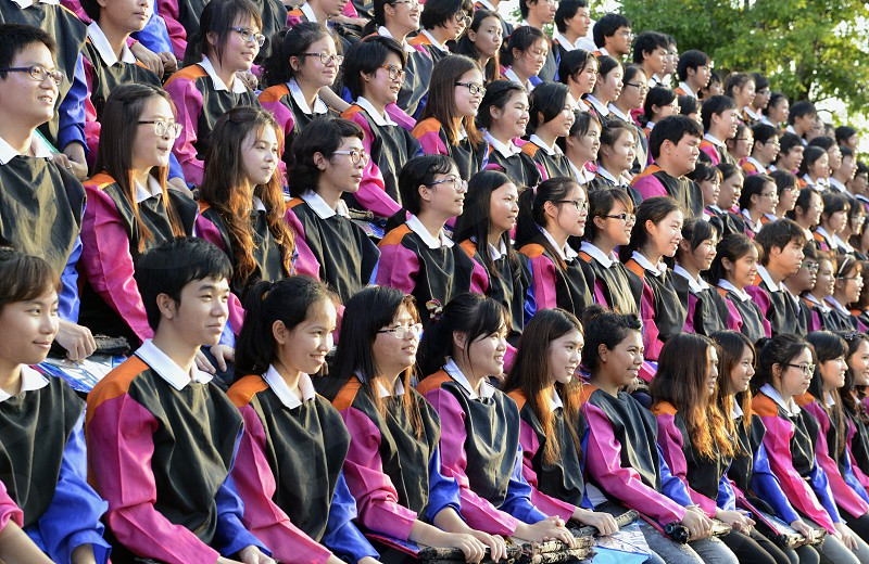 University students at a event in the city of chiang mai in the north of Thailand in Southeastasia.  photo