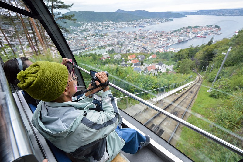 The Fløibanen a funicular railway in the city of Bergen Norway connecting the city centre with the mountain of Fløyen photo