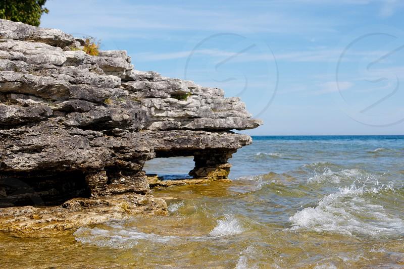 Lake outdoors beach rocks zen USA Wisconsin  photo