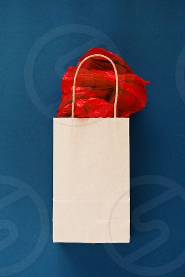 white paper gift bag red tissue paper photo
