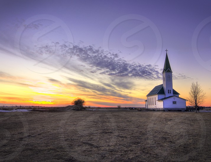 Church sunset at Wessell's Living History Farm in York NE. photo