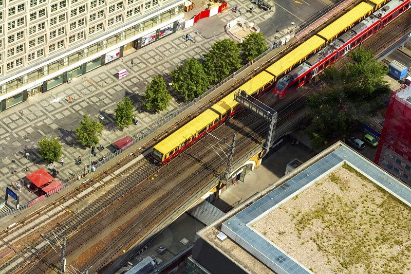 Aerial view of the S-Bahn tracks rapid train and tram train at the Alexanderplatz public square in Berlin. photo