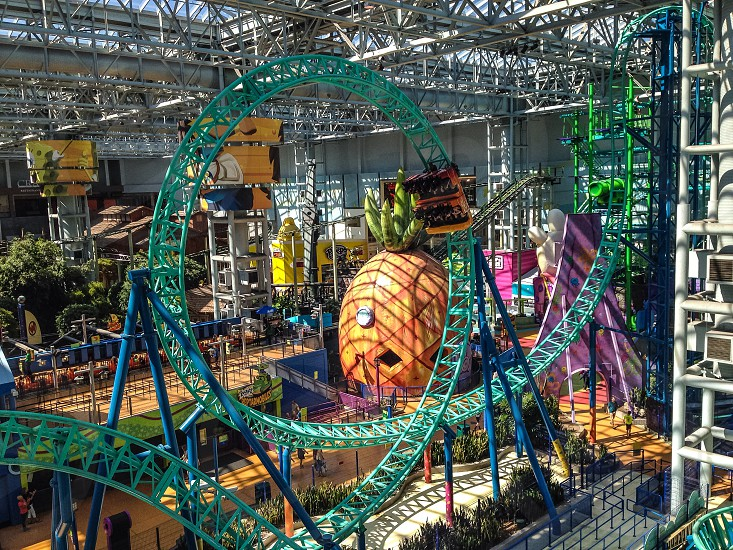 green roller coaster tracks photo