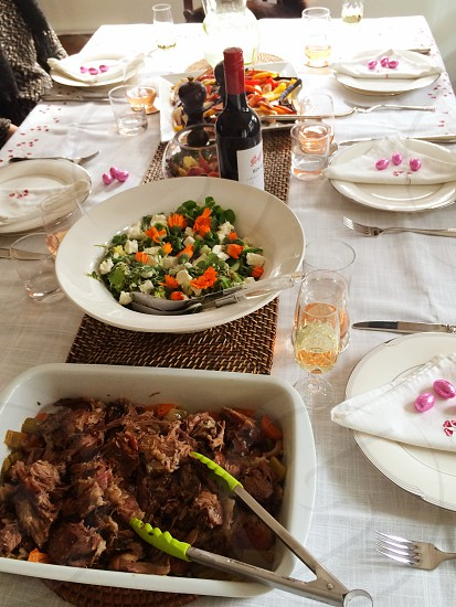 Easter family dinner set out on table photo