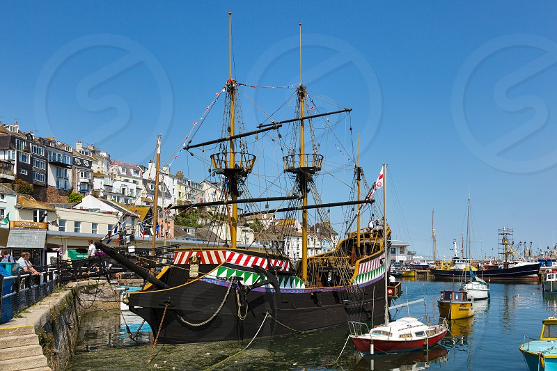 View of Brixham Harbour and the Golden Hind photo