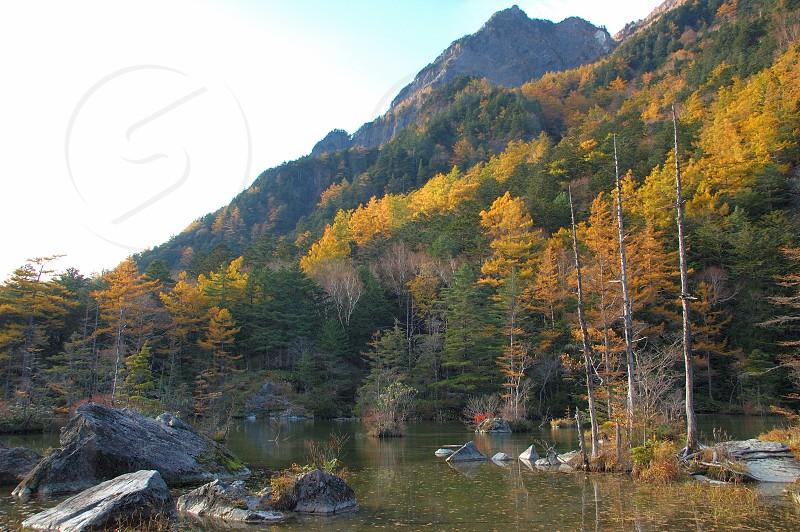 秋の上高地、明神池 photo