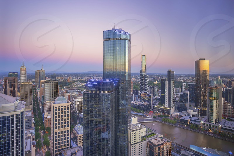 Aerial View of Melbourne City photo