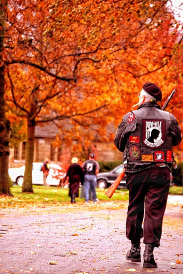 Fall people trees colorful autumn remembrance honoring pow Mia photo
